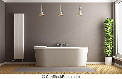 Minimalist bathroom with elegant bathtub, vertical heater...