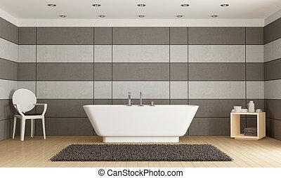 Minimalist bathroom with bathtub against concrete panel -...