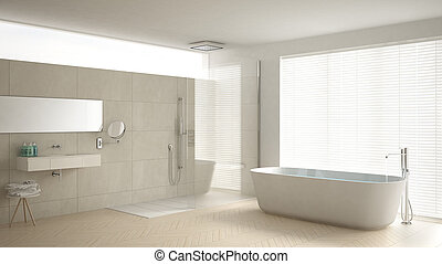 Minimalist bathroom with bathtub and shower, parquet floor and marble tiles, classic white interior design