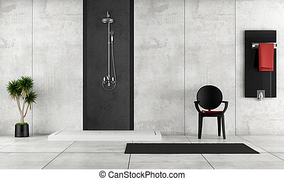 Minimalist bathroom with shower, radiator and chair - rendering