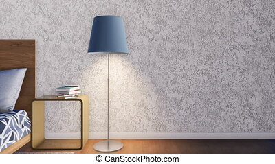 Modern minimalist bedroom interior with wooden double bed, simple bedside tables and floor lamps against empty white rough textured stucco wall background with copy space. 3D animation rendered in 4K