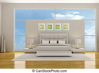 minimalist white and gray bedroom - rendering - the art picture on wall are my compositions