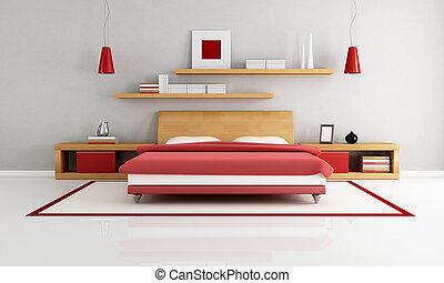 minimalist bedroom - wooden and red minimalist bedroom -...