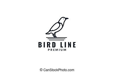 minimalist bird line modern logo icon vector illustration