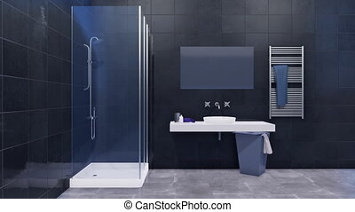Minimalist black and white bathroom interior 3D - Modern...