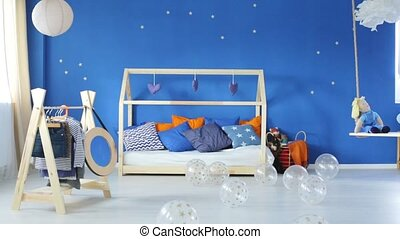 Minimalist blue childroom with bed movie - Minimalist blue...