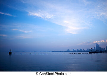 Minimalist blue landscape over Lake Michigan