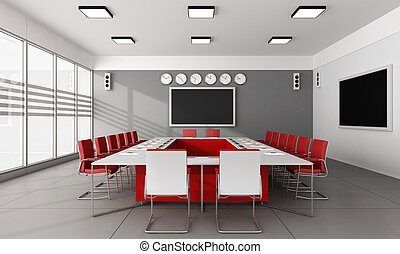 Contemporary board room with large meeting table and red chairs - 3D Rendering