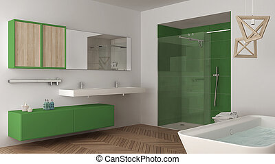 Minimalist bright bathroom with double sink, shower and bathtub, white and green interior design