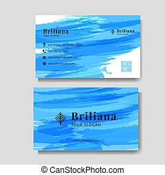 Minimalist business card with blue brush