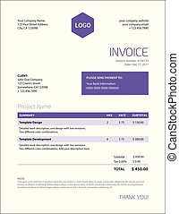 Minimalist business invoice template - trendy ultra violet...