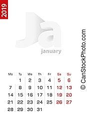 Minimalist calendar template for January 2019, vector calendar in English.