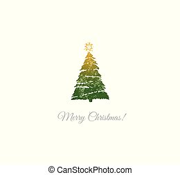 Minimalist christmas card with green christmas tree on white background.
