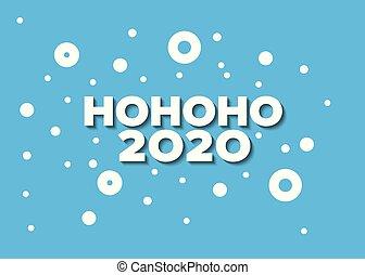 Minimalist Christmas card with hohoho - Abstract vector blue...