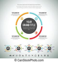 Minimalist Circle Line Infographic - Vector illustration of ...