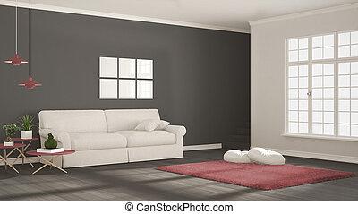 minimalist, classieke, eenvoudig, duidelijk, scandinavische, grijs, ontwerp, witte , interieur, levend, rood