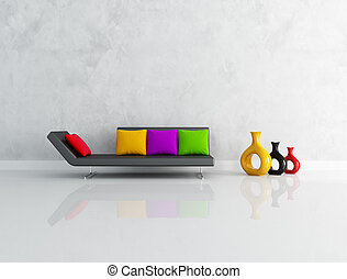 modern black couch with colored cushion in front a stucco wall-rendering