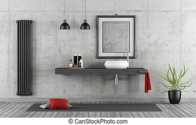 Minimalist concrete bathroom