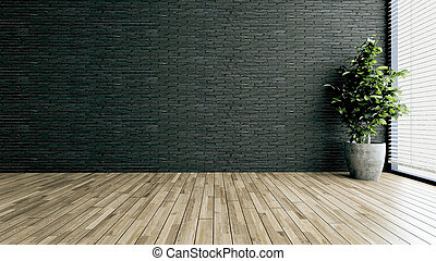 Minimalist design empty modern office or homes. Thought design idea with black brick wall, plant 3D rendering