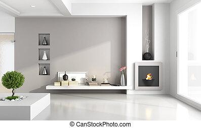 minimalist, eldstad, rum, levande