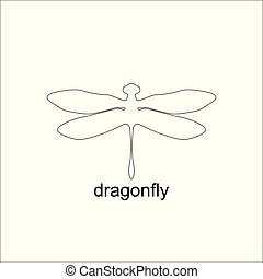 Minimalist elegant Dragonfly design with line art style