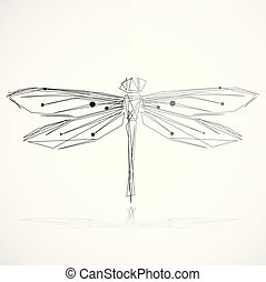 Minimalist elegant Dragonfly logo design with line art style