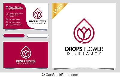Minimalist elegant drops flower rose beauty with line art style logo design inspiraton, business card