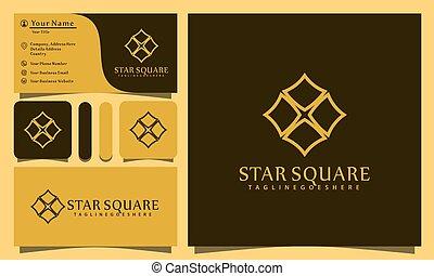 minimalist elegant square star logo design vector illustration with line art style, modern company business card template