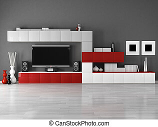 minimalist empty living room with cabinet and lcd tv