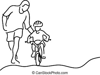 minimalist father teaching his daughter with safety helmet to ride a bicycle vector illustration sketch hand drawn with black lines isolated on white background. Copyspace for text.