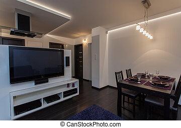 minimalist, flat, kamer, levend, -, het dineren