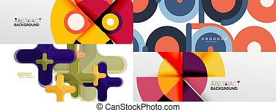 Minimalist geometric abstract backgrounds made of squares, circles, rectangles, lines, triangles and other elements