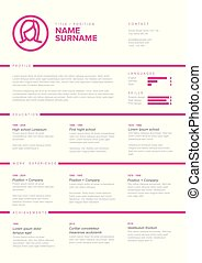 Vector girl or woman light minimalist cv / resume template with content blocks design and pink accent