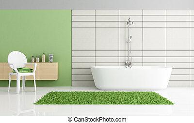 Badezimmer, trimmen, planke, wand, weißes, kabinett, grün ...
