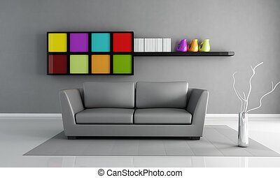 minimalist grey interior - gray leather couch and colored...