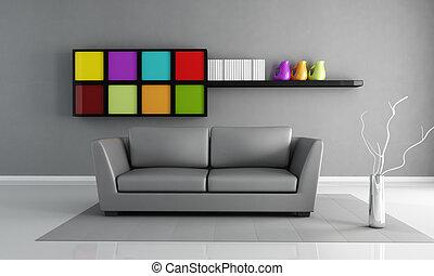 minimalist grey interior