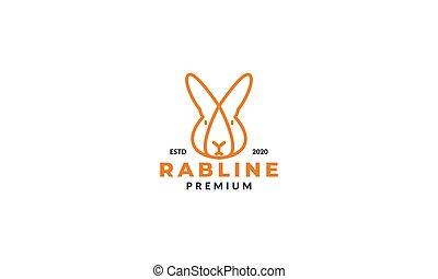 minimalist head face rabbit  logo design line