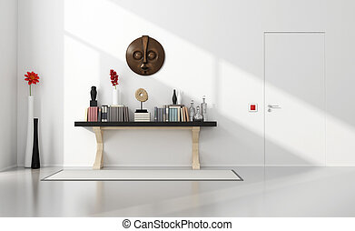 Minimalist home entance with consolle