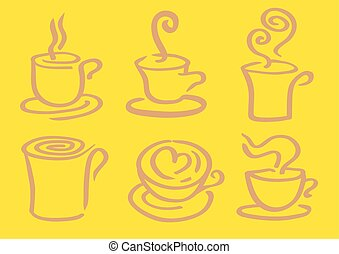 Minimalist Hot Coffee in Cup Vector Design - Vector...