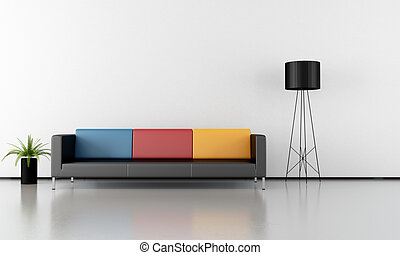 minimalist interior - Contemporary livingroom with colorful...