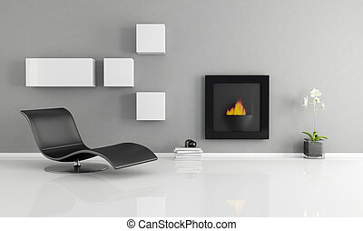 minimalist interior with essential fireplace - rendering