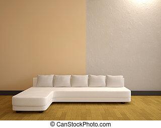 Minimalist interior - The minimalist interior with a white...