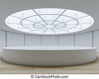 Minimalist interior with atrium.