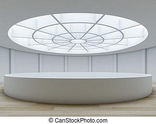 Minimalist interior with atrium.