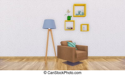 Minimalist interior with chair on empty white wall - Bright...