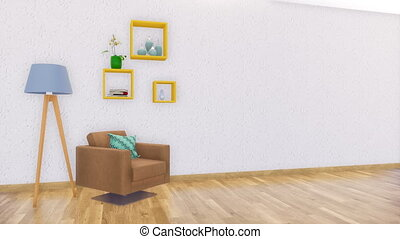 Minimalist interior with copy space white wall 4K - Brown...