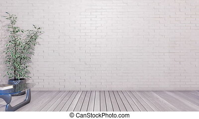 Minimalist interior with copy space white wall 4K - Modern...
