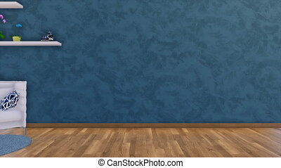 Minimalist interior with empty dark blue wall 3D - Modern...