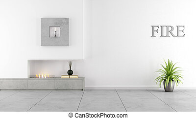 Minimalist interior with fireplace - Contemporary fireplace...