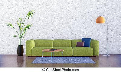 minimalist, kamer, levend, muur, interieur, lege